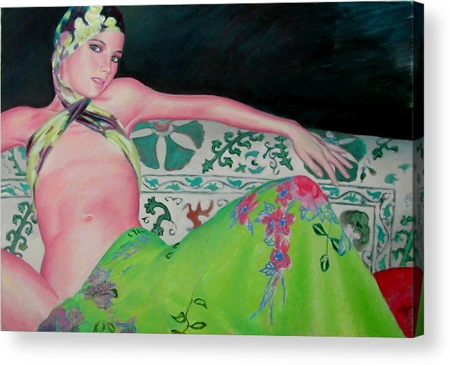 Donna Acrylic Print featuring the painting Odalisca by Gustavo Aresu
