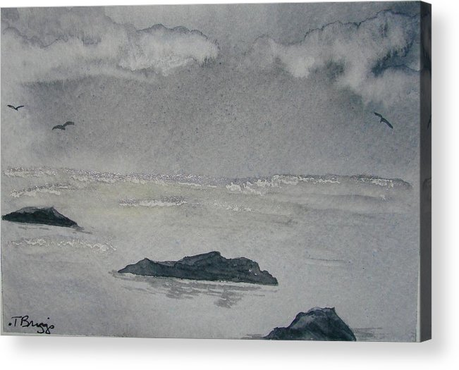 Ocean Acrylic Print featuring the painting On The Sea by Dottie Briggs