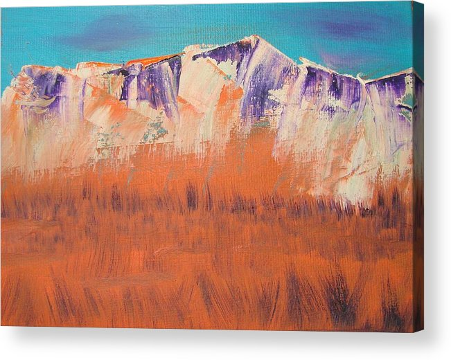 Mountains Acrylic Print featuring the painting Orange Grass by Liz Vernand