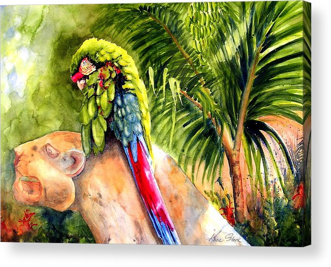 Parrot Acrylic Print featuring the painting Pajaro by Karen Stark