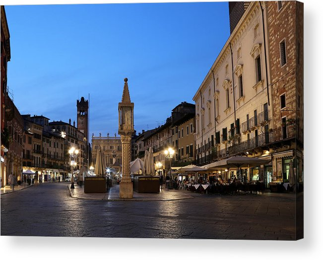 Piazza Erbe Acrylic Print featuring the photograph Piazza Erbe Verona by Andrew Fare