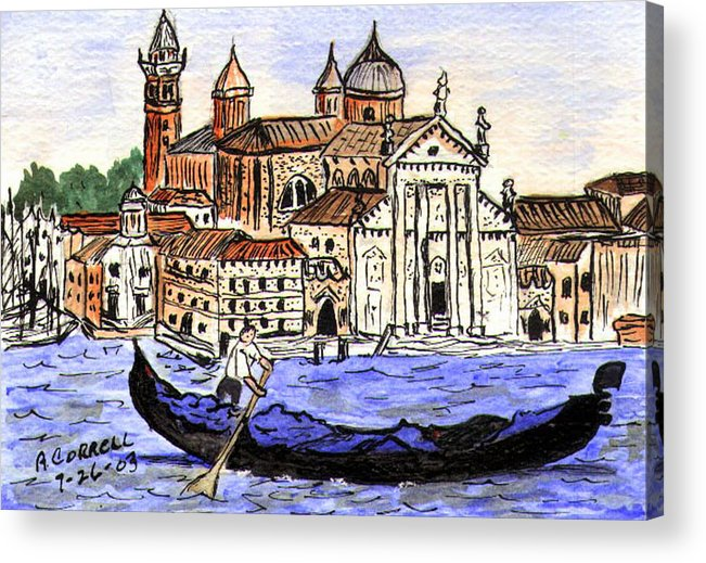 Piazzo San Marco Acrylic Print featuring the painting Piazzo San Marco Venice Italy by Arlene Wright-Correll