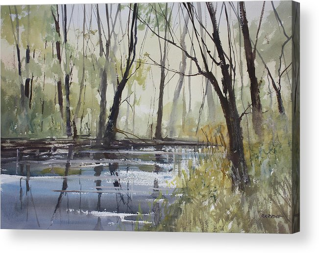 Ryan Radke Acrylic Print featuring the painting Pine River Reflections by Ryan Radke