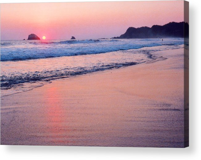 Mexico Acrylic Print featuring the photograph Pink Sky In Zipolite by Lyle Crump