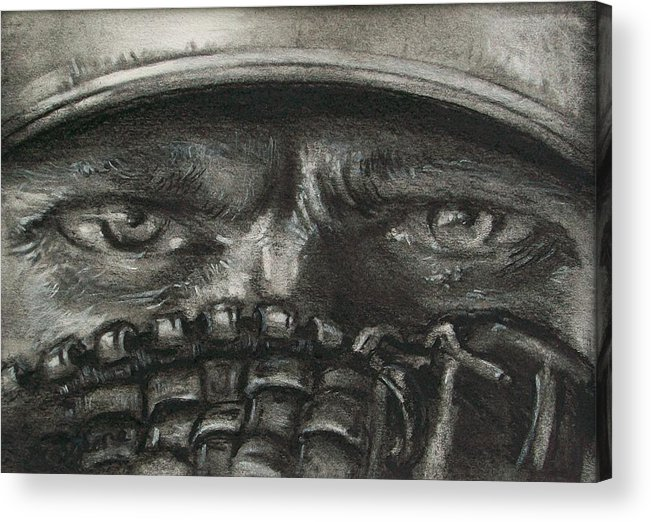 Baseball Acrylic Print featuring the drawing Pitchers Eyes by Tom Forgione