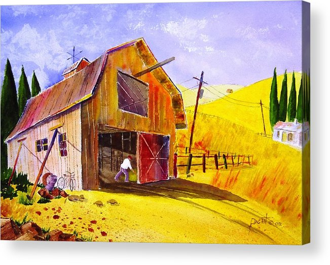 Lanscape Acrylic Print featuring the painting Pitching Hay by Buster Dight