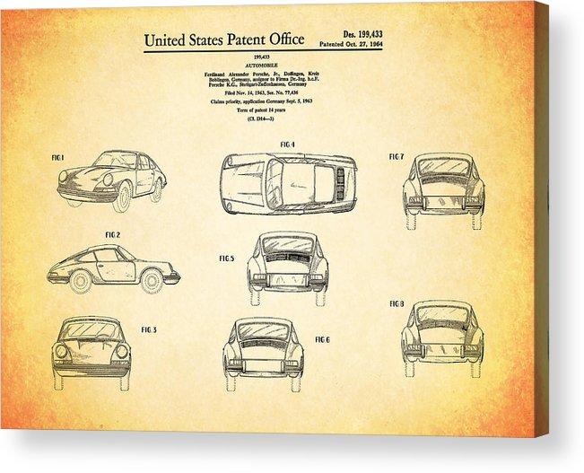 Porsche 911 Patent Acrylic Print featuring the photograph Porsche 911 Patent by Mark Rogan
