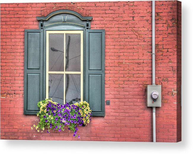Red Acrylic Print featuring the photograph Power Lines by Elisabeth Van Eyken
