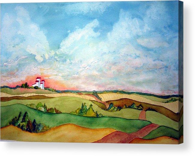 Prairie Grain Elevators Acrylic Print featuring the painting Prairie Grain Elevators by Joanne Smoley