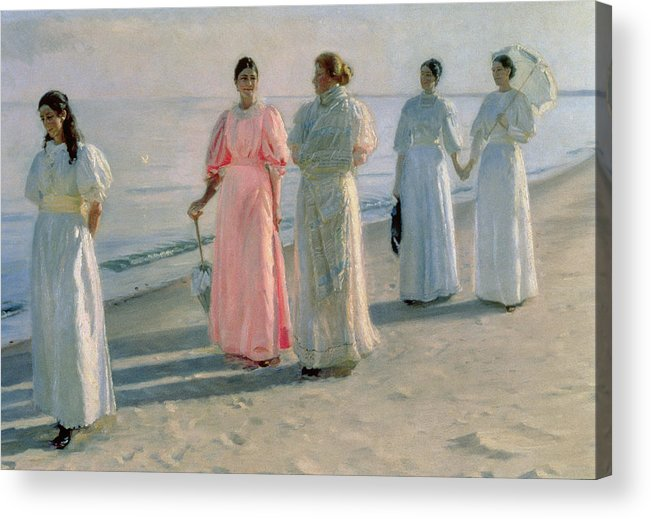 Promenade Acrylic Print featuring the painting Promenade On The Beach by Michael Peter Ancher