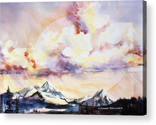 Ragged Mountains Acrylic Print featuring the painting Ragged Mountains Sunset by Connie Williams