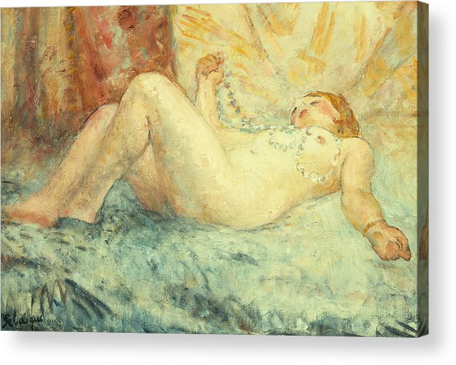 Nude Acrylic Print featuring the painting Reclining Nude by Henri Lebasque