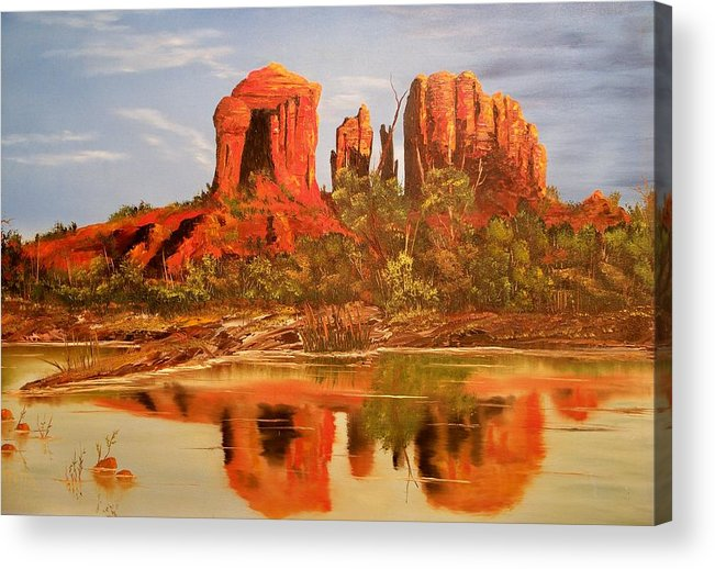 Rocks Acrylic Print featuring the painting Red Rock by Patrick Trotter
