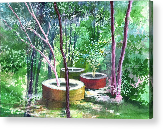 Opaque Landscape Acrylic Print featuring the painting Relax Here by Anil Nene