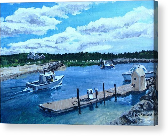 Seascape Acrylic Print featuring the painting Returning To Sesuit Harbor by Jack Skinner