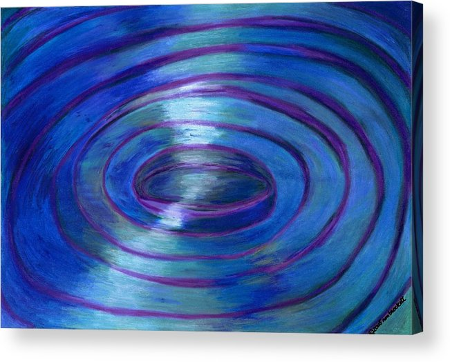 Watercolor Crayon Acrylic Print featuring the painting Ripples by Nancy Brockett
