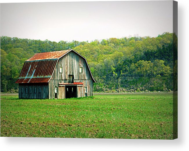 Barn Acrylic Print featuring the photograph Riverbottom Barn In Spring by Cricket Hackmann