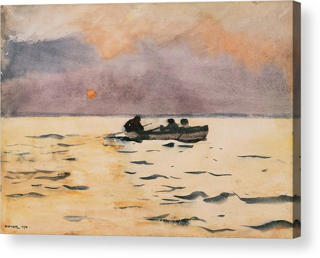 Winslow Homer Acrylic Print featuring the painting Rowing Home by Winslow Homer