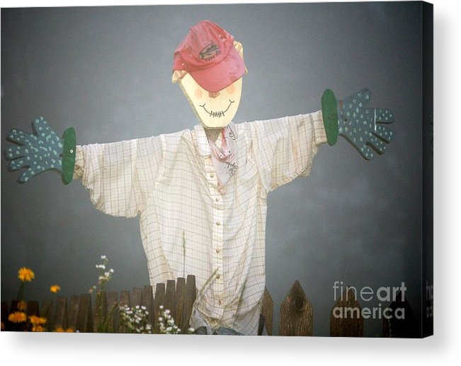 Diane Berry Acrylic Print featuring the photograph Scarecrow In Fog by Diane E Berry
