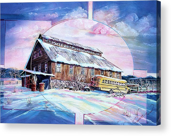 Bar Acrylic Print featuring the painting School Bus And Barn by Connie Williams