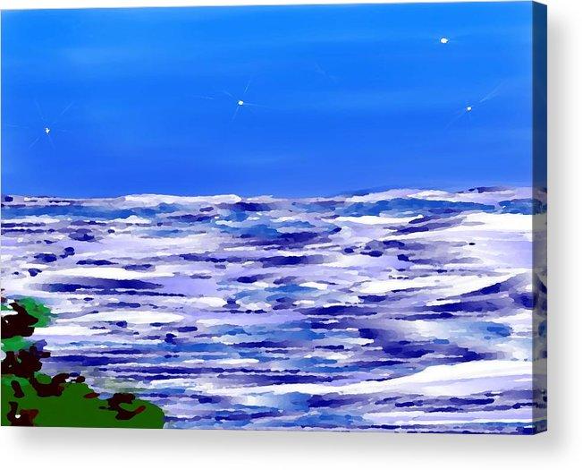 Sea.evening.night.silence.water.waves.deep Water.quiet .coast.sky.stars.calm.no Wind Acrylic Print featuring the digital art Sea.moon Light by Dr Loifer Vladimir