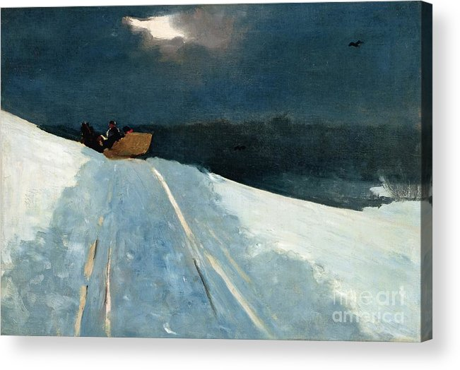 Winter Scene; Wintry; Snow; Snow-covered Landscape; Rural; Remote; Night; Darkness; Tracks; Path; Track; Moonlight; Sledge; Nocturne; Sleigh Ride Acrylic Print featuring the painting Sleigh Ride by Winslow Homer