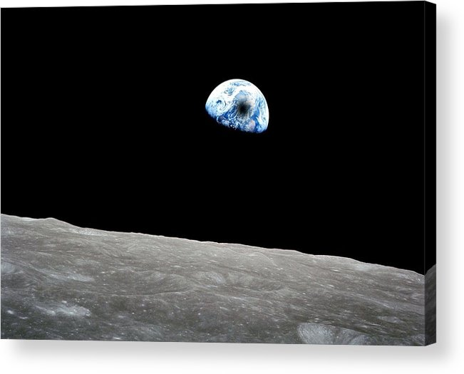 Sun Acrylic Print featuring the painting Solar Eclipse Viewed From The Moon Surface by Celestial Images