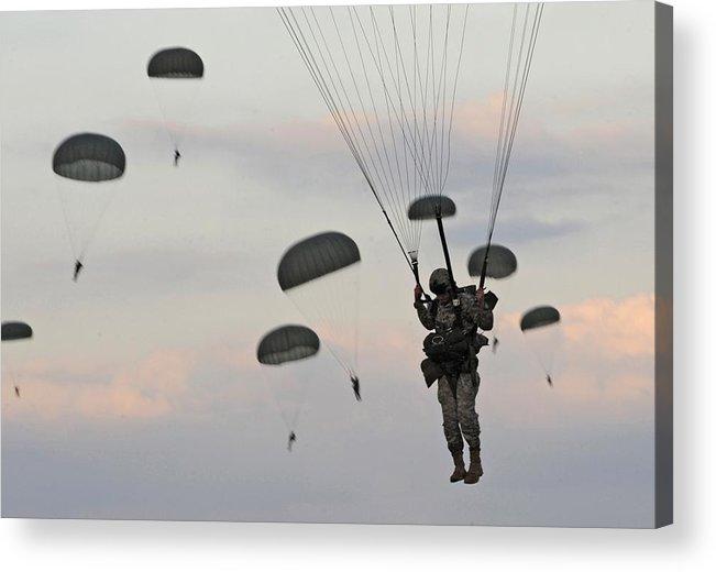 History Acrylic Print featuring the photograph Soldiers Of The 82nd Airborne Descend by Everett