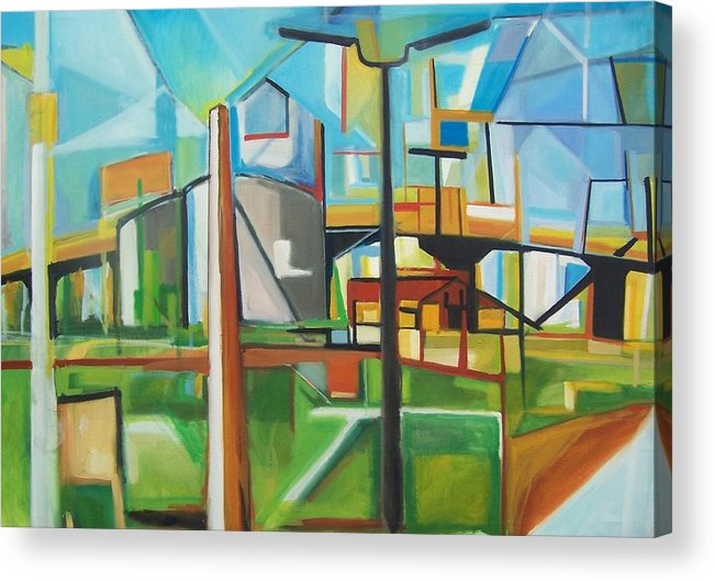 Landscape Acrylic Print featuring the painting South Hackensack by Ron Erickson