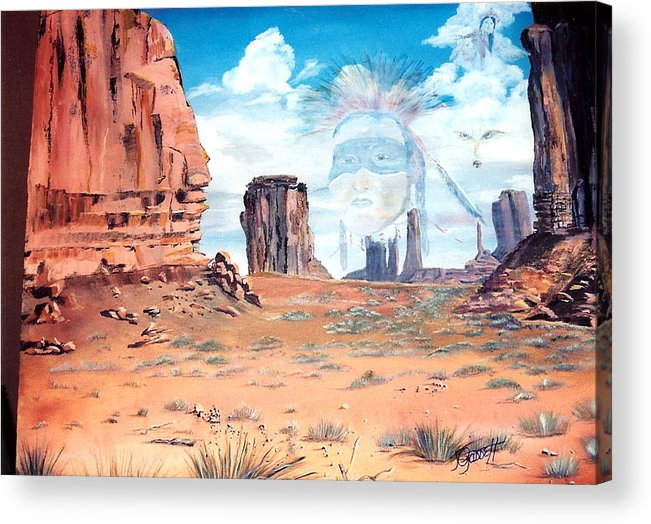 Native American Acrylic Print featuring the painting Spirit In The Wind by Joan Gossett