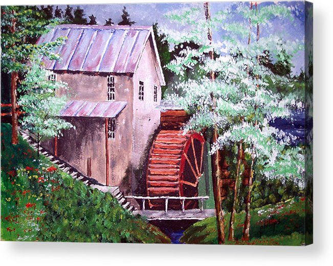 Mill Acrylic Print featuring the painting Springtime At The Old Mill by Jim Phillips