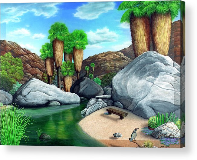 Landscape Acrylic Print featuring the painting Springtime In The Canyons by Snake Jagger