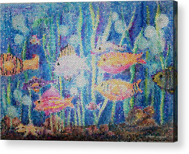 Fish Acrylic Print featuring the mixed media Stained Glass Fish by Arline Wagner