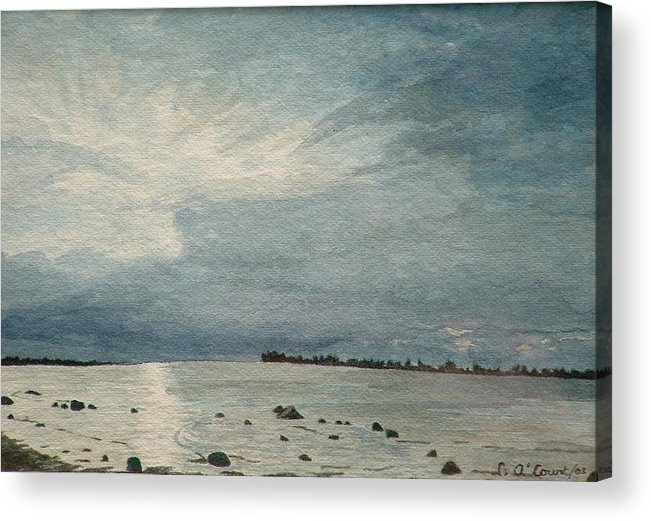 Landscape Acrylic Print featuring the painting Steel Morning In Rock Garden by Lynn ACourt