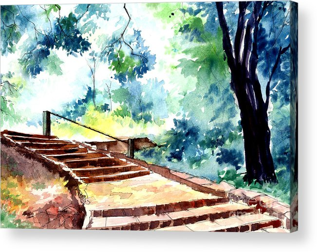 Landscape Acrylic Print featuring the painting Steps To Eternity by Anil Nene