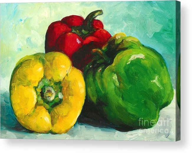 Vegetables Acrylic Print featuring the painting Stoplight by Linda Vespasian