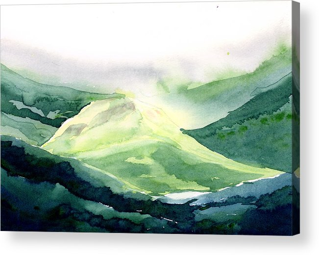 Landscape Acrylic Print featuring the painting Sunlit Mountain by Anil Nene