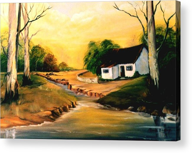 Landscape Acrylic Print featuring the painting Sunset by Ansie Boshoff