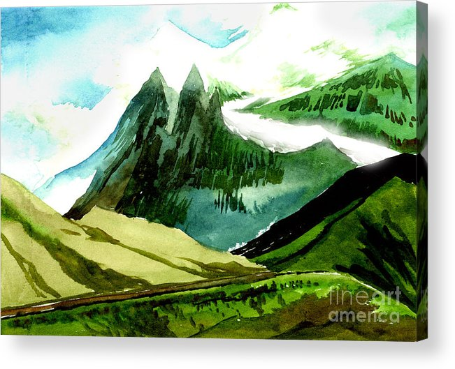 Landscape Acrylic Print featuring the painting Switzerland by Anil Nene