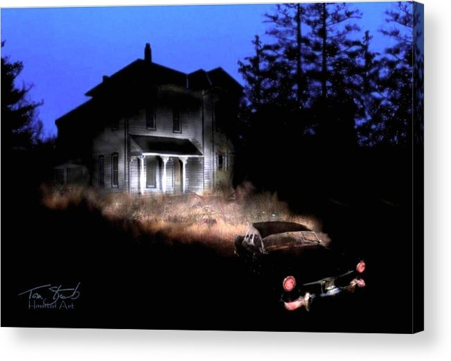 Haunted House Acrylic Print featuring the digital art Tail Lights by Tom Straub