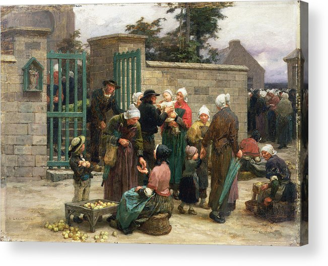 Taking Acrylic Print featuring the painting Taking In Foundlings by Leon Augustin Lhermitte