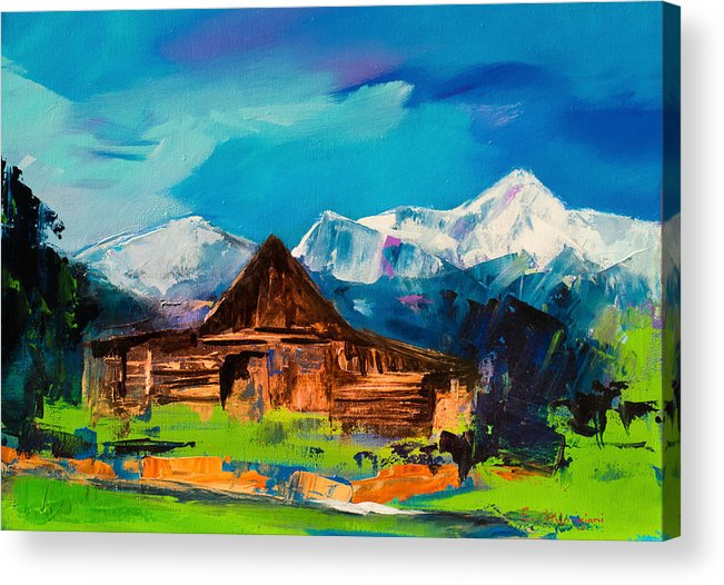 Barn Acrylic Print featuring the painting Teton Barn by Elise Palmigiani