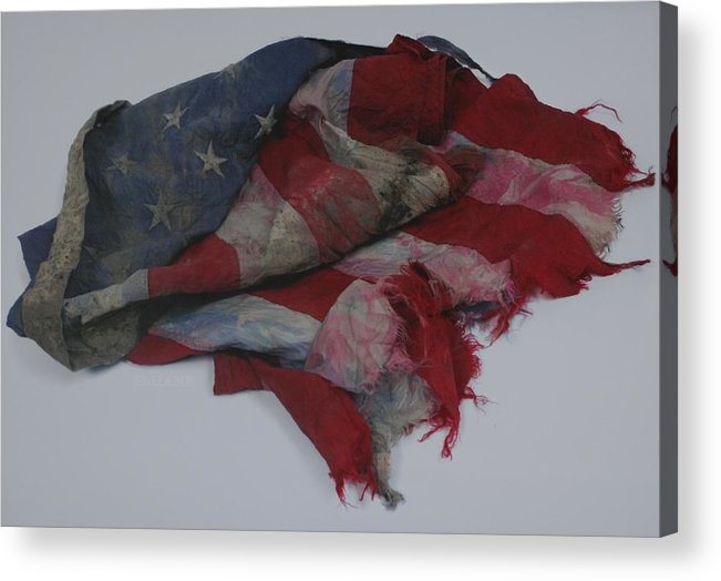 911 Acrylic Print featuring the photograph The 9 11 W T C Fallen Heros American Flag by Rob Hans