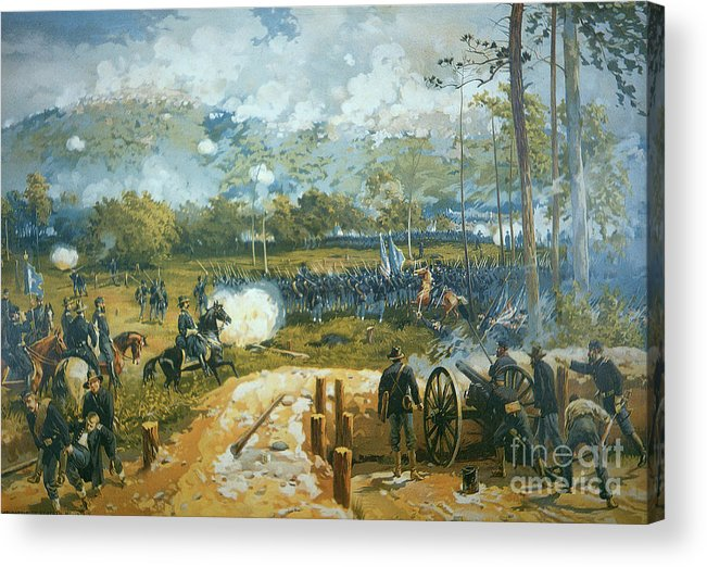 The Battle Of Kenesaw Mountain Acrylic Print featuring the painting The Battle Of Kenesaw Mountain by American School