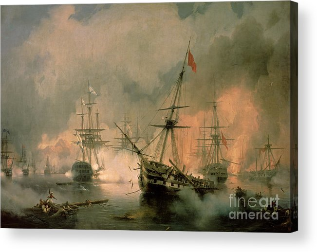 The Acrylic Print featuring the painting The Battle Of Navarino by Ivan Konstantinovich Aivazovsky
