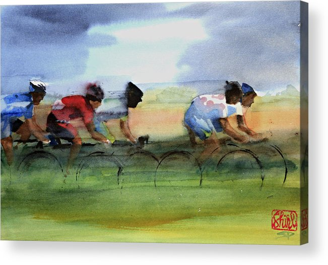 Le Tour De France Acrylic Print featuring the painting The Breakaway by Shirley Peters