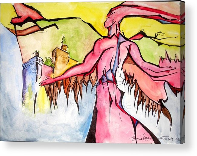 Fire Acrylic Print featuring the painting The Fire Played With Me by Bonnie Rose Parent