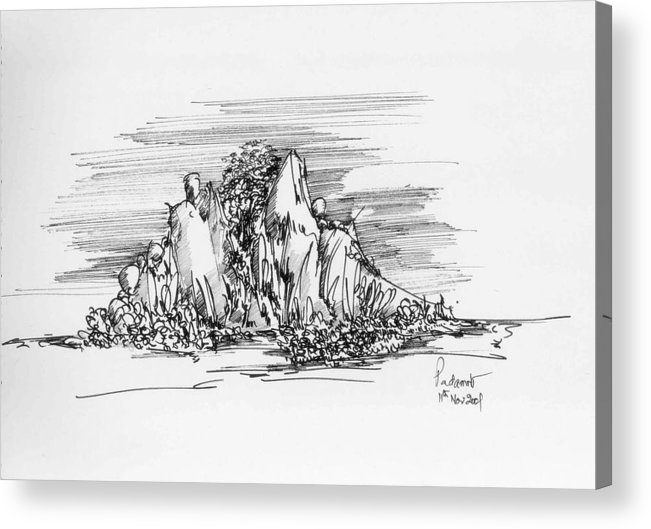 Hill Acrylic Print featuring the drawing The Hill by Padamvir Singh