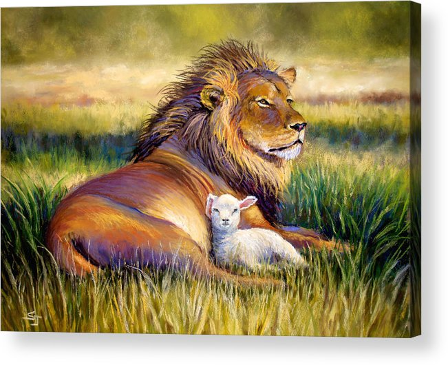 Lion And The Lamb Acrylic Print featuring the pastel The Kingdom Of Heaven by Susan Jenkins