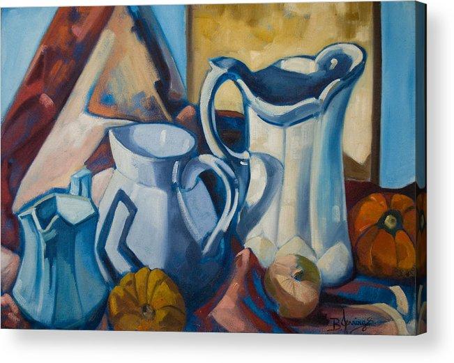 Milk Jugs Acrylic Print featuring the painting The Morning Milk by Kadira Jennings